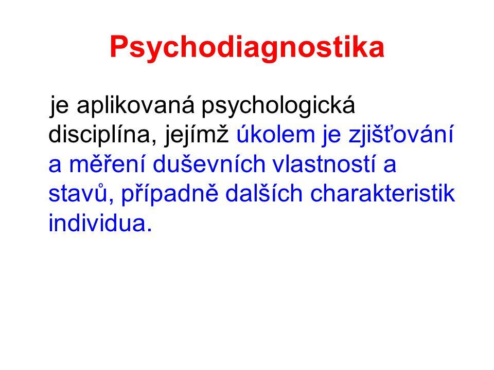 Psychodiagnostika je aplikovaná psychologická disciplína, jejímž úkolem je zjišťování a měření duševních vlastností a stavů, případně dalších charakte