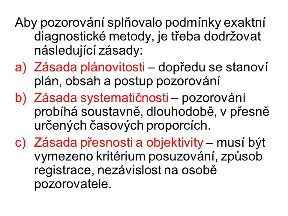 Aby pozorování splňovalo podmínky exaktní diagnostické metody, je třeba dodržovat následující zásady: a)Zásada plánovitosti – dopředu se stanoví plán,