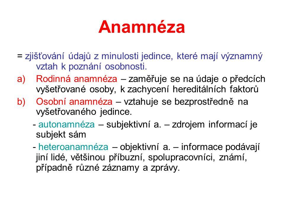 Anamnéza = zjišťování údajů z minulosti jedince, které mají významný vztah k poznání osobnosti. a)Rodinná anamnéza – zaměřuje se na údaje o předcích v