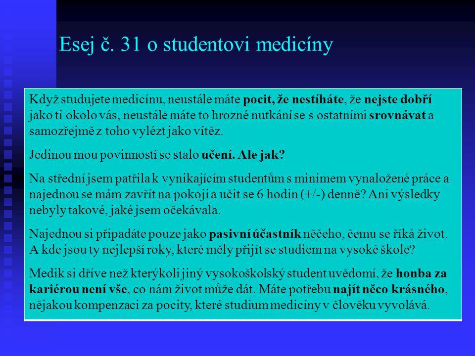 Esej č. 31 o studentovi medicíny Když studujete medicínu, neustále máte pocit, že nestíháte, že nejste dobří jako ti okolo vás, neustále máte to hrozn