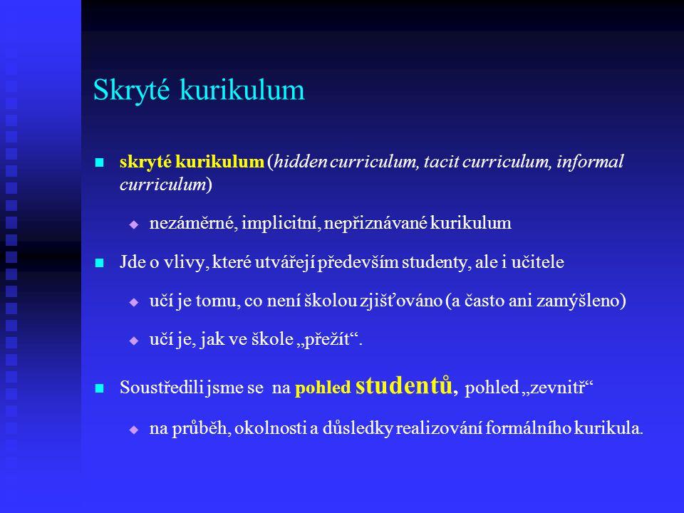 Skryté kurikulum skryté kurikulum (hidden curriculum, tacit curriculum, informal curriculum)   nezáměrné, implicitní, nepřiznávané kurikulum Jde o v