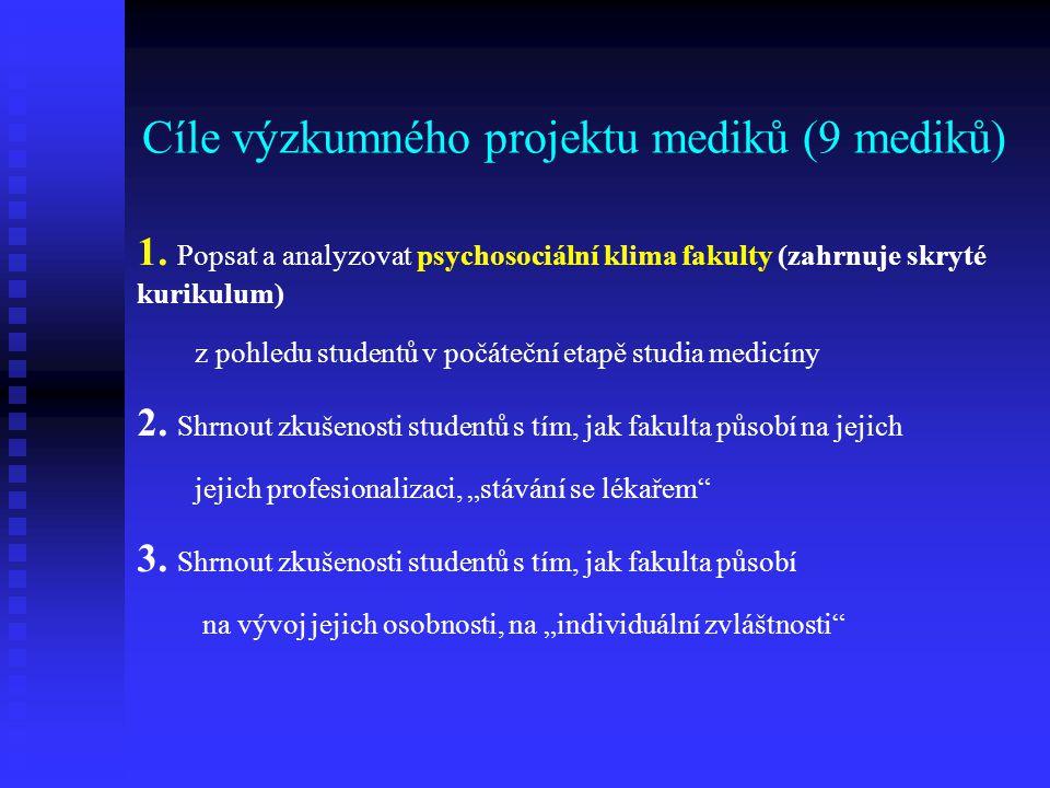 Cíle výzkumného projektu mediků (9 mediků) 1. Popsat a analyzovat psychosociální klima fakulty (zahrnuje skryté kurikulum) z pohledu studentů v počáte