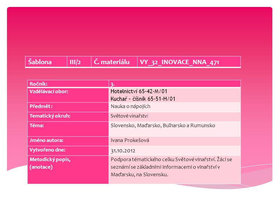 Ročník:3. Vzdělávací obor: Hotelnictví 65-42-M/01 Kuchař – číšník 65-51-H/01 Předmět :Nauka o nápojích Tematický okruh:Světové vinařství Téma: Slovens
