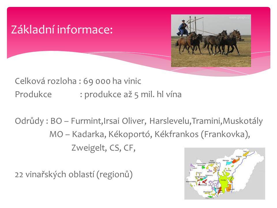 Celková rozloha : 69 000 ha vinic Produkce : produkce až 5 mil. hl vína Odrůdy : BO – Furmint,Irsai Oliver, Harslevelu,Tramini,Muskotály MO – Kadarka,