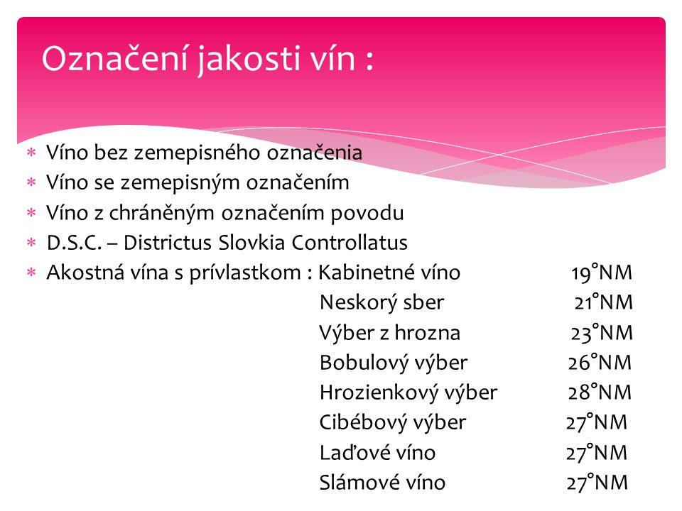  Víno bez zemepisného označenia  Víno se zemepisným označením  Víno z chráněným označením povodu  D.S.C. – Districtus Slovkia Controllatus  Akost