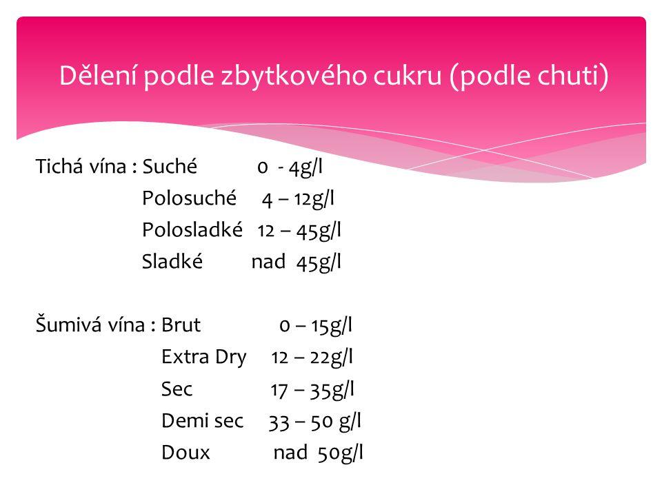 Tichá vína : Suché 0 - 4g/l Polosuché 4 – 12g/l Polosladké 12 – 45g/l Sladké nad 45g/l Šumivá vína : Brut 0 – 15g/l Extra Dry 12 – 22g/l Sec 17 – 35g/