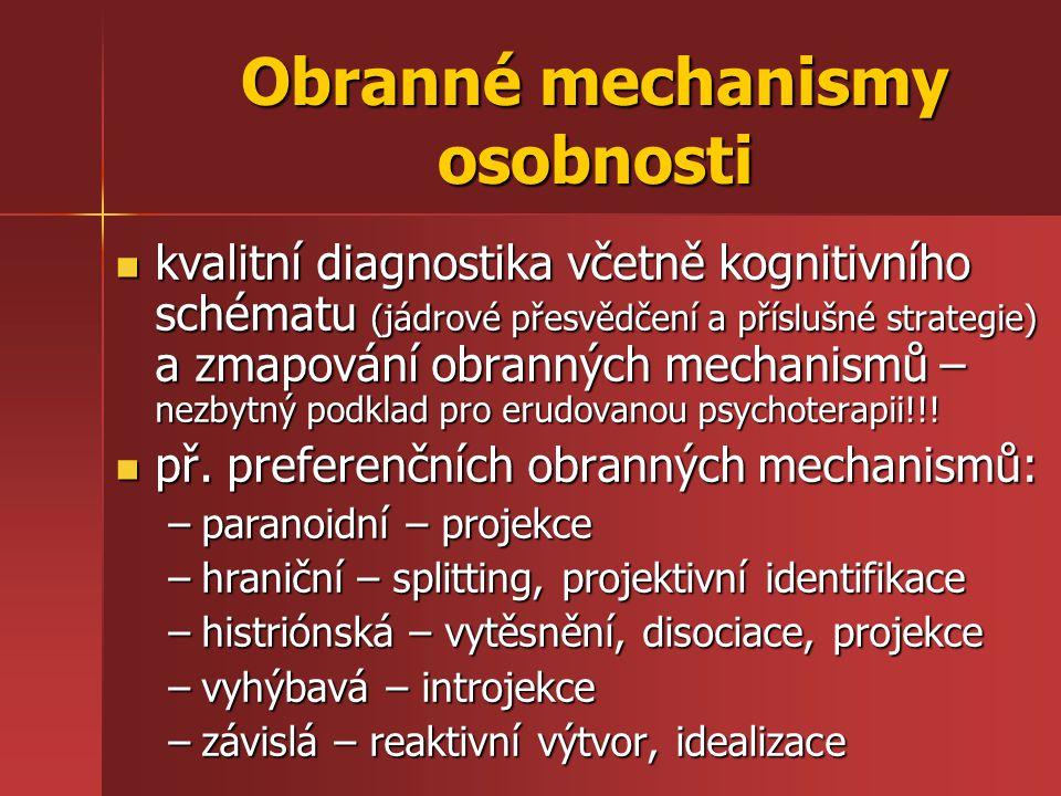 Obranné mechanismy osobnosti kvalitní diagnostika včetně kognitivního schématu (jádrové přesvědčení a příslušné strategie) a zmapování obranných mechanismů – nezbytný podklad pro erudovanou psychoterapii!!.