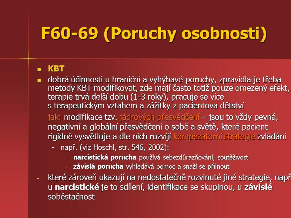F60-69 (Poruchy osobnosti) KBT KBT dobrá účinnosti u hraniční a vyhýbavé poruchy, zpravidla je třeba metody KBT modifikovat, zde mají často totiž pouze omezený efekt, terapie trvá delší dobu (1-3 roky), pracuje se více s terapeutickým vztahem a zážitky z pacientova dětství dobrá účinnosti u hraniční a vyhýbavé poruchy, zpravidla je třeba metody KBT modifikovat, zde mají často totiž pouze omezený efekt, terapie trvá delší dobu (1-3 roky), pracuje se více s terapeutickým vztahem a zážitky z pacientova dětství - jak: modifikace tzv.