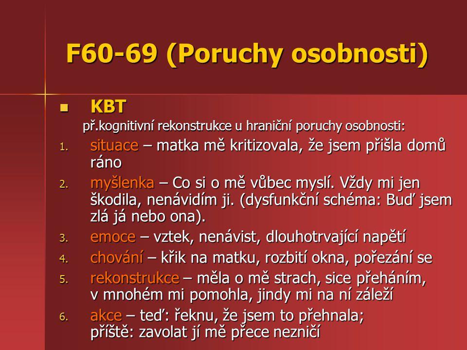 F60-69 (Poruchy osobnosti) KBT KBT př.kognitivní rekonstrukce u hraniční poruchy osobnosti: 1.