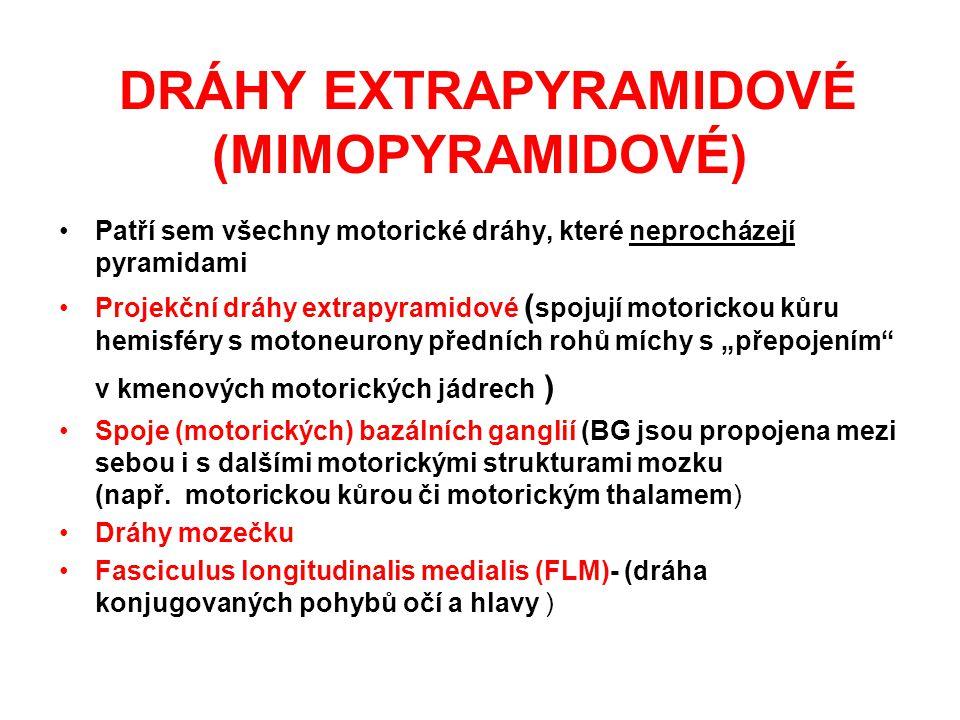 DRÁHY EXTRAPYRAMIDOVÉ (MIMOPYRAMIDOVÉ) Patří sem všechny motorické dráhy, které neprocházejí pyramidami Projekční dráhy extrapyramidové ( spojují moto