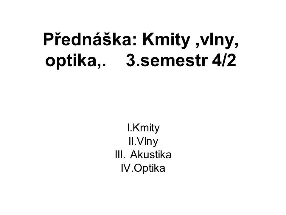I.Kmity II.Vlny III. Akustika IV.Optika Přednáška: Kmity,vlny, optika,. 3.semestr 4/2