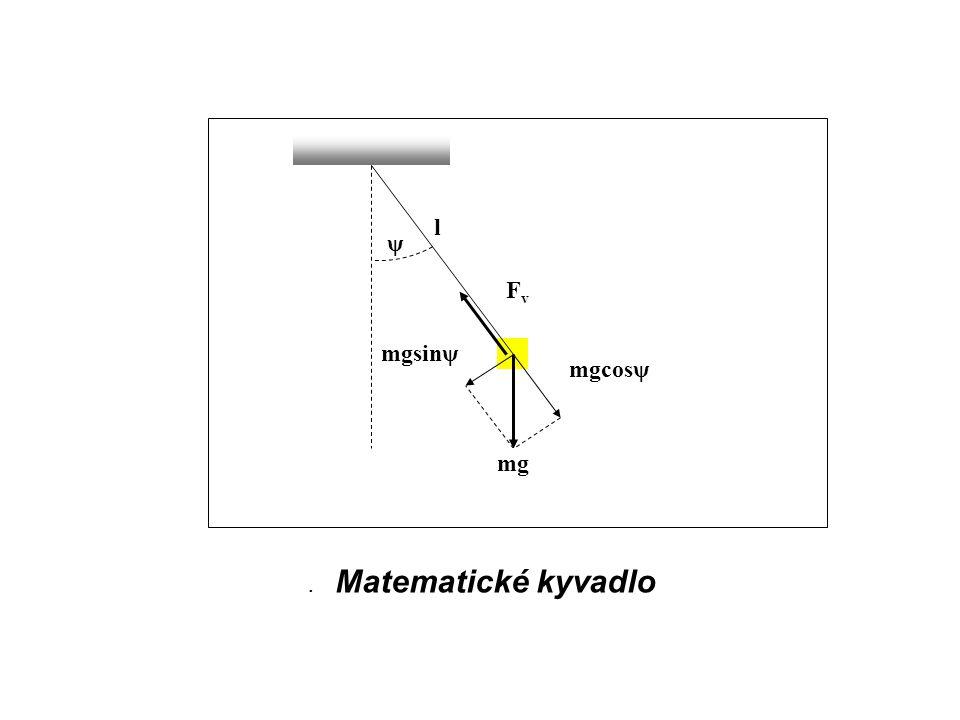 . Matematické kyvadlo ψ mgsinψ mgcosψ FvFv mg l