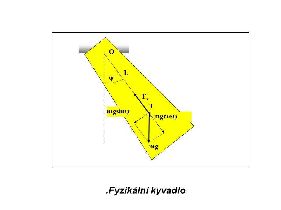 .Fyzikální kyvadlo ψ mgsinψ mgcosψ FvFv mg L TlTl O