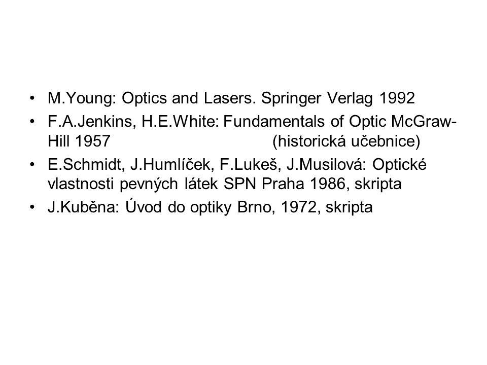 M.Young: Optics and Lasers. Springer Verlag 1992 F.A.Jenkins, H.E.White: Fundamentals of Optic McGraw- Hill 1957 (historická učebnice) E.Schmidt, J.Hu