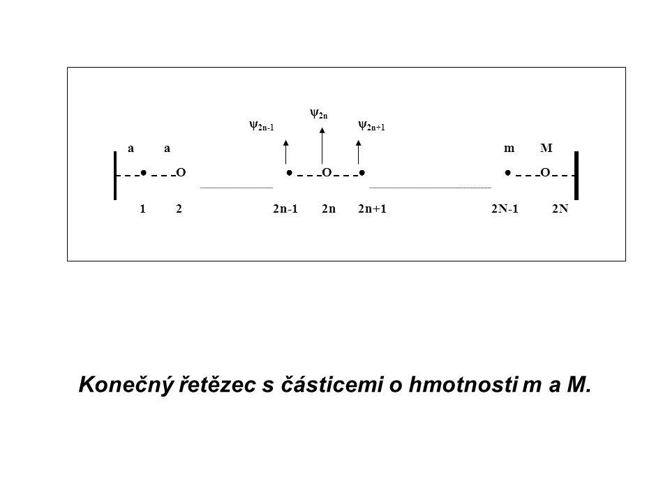 ●O●O●●O 122n2n+12N-12N2n-1 ψ 2n aa ψ 2n+1 ψ 2n-1 Mm Konečný řetězec s částicemi o hmotnosti m a M.