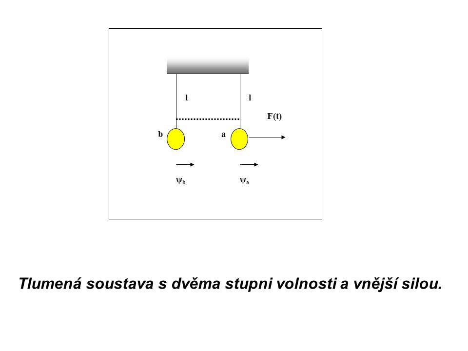 Tlumená soustava s dvěma stupni volnosti a vnější silou. ψaψa ψbψb l F(t) l ba