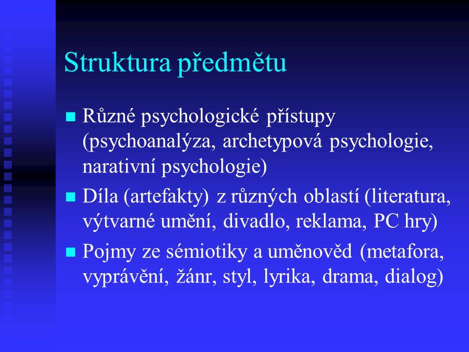 Struktura předmětu Různé psychologické přístupy (psychoanalýza, archetypová psychologie, narativní psychologie) Díla (artefakty) z různých oblastí (li