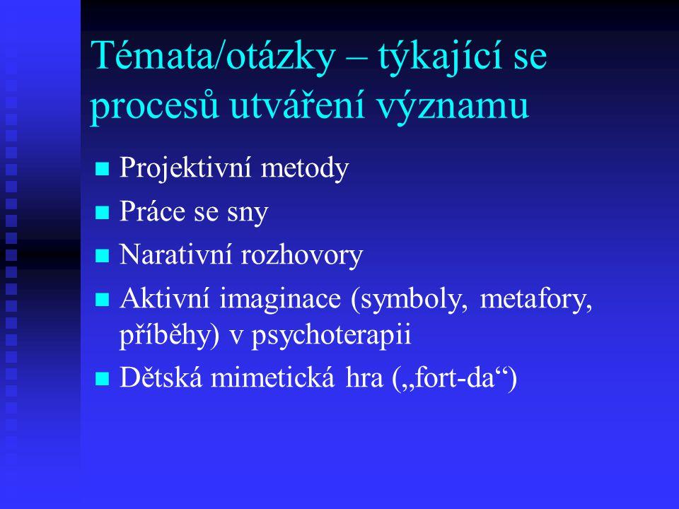 Témata/otázky – týkající se procesů utváření významu Projektivní metody Práce se sny Narativní rozhovory Aktivní imaginace (symboly, metafory, příběhy