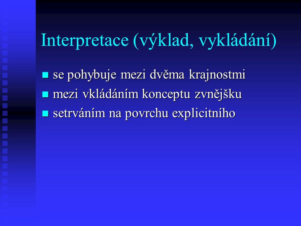 Interpretace (výklad, vykládání) se pohybuje mezi dvěma krajnostmi se pohybuje mezi dvěma krajnostmi mezi vkládáním konceptu zvnějšku mezi vkládáním k