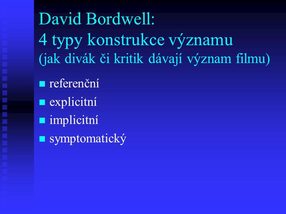 David Bordwell: 4 typy konstrukce významu (jak divák či kritik dávají význam filmu) referenční explicitní implicitní symptomatický
