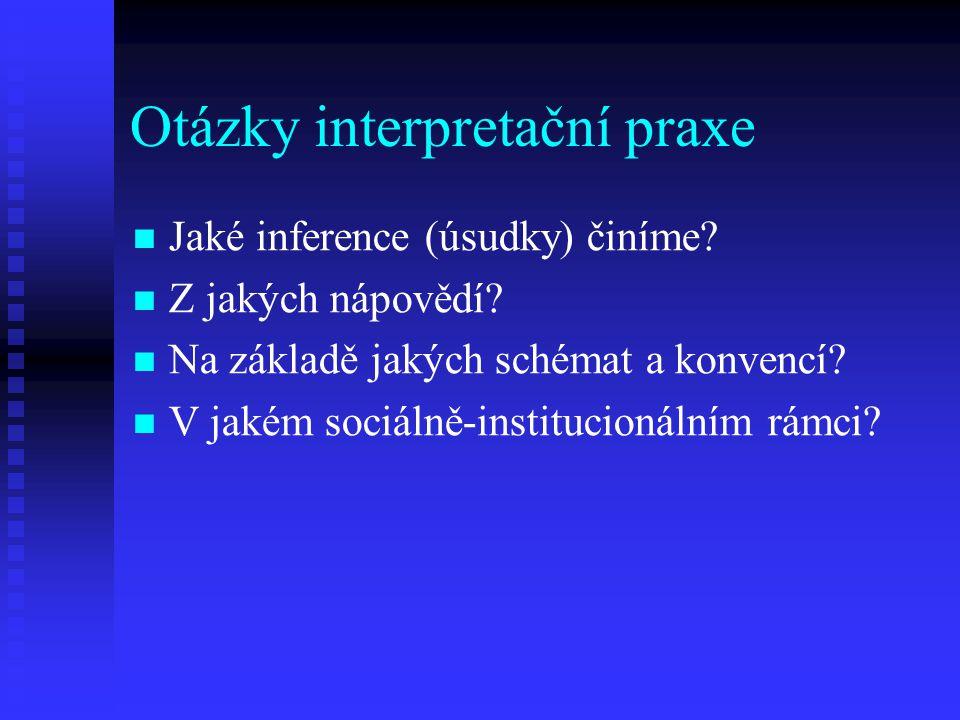 Otázky interpretační praxe Jaké inference (úsudky) činíme? Z jakých nápovědí? Na základě jakých schémat a konvencí? V jakém sociálně-institucionálním