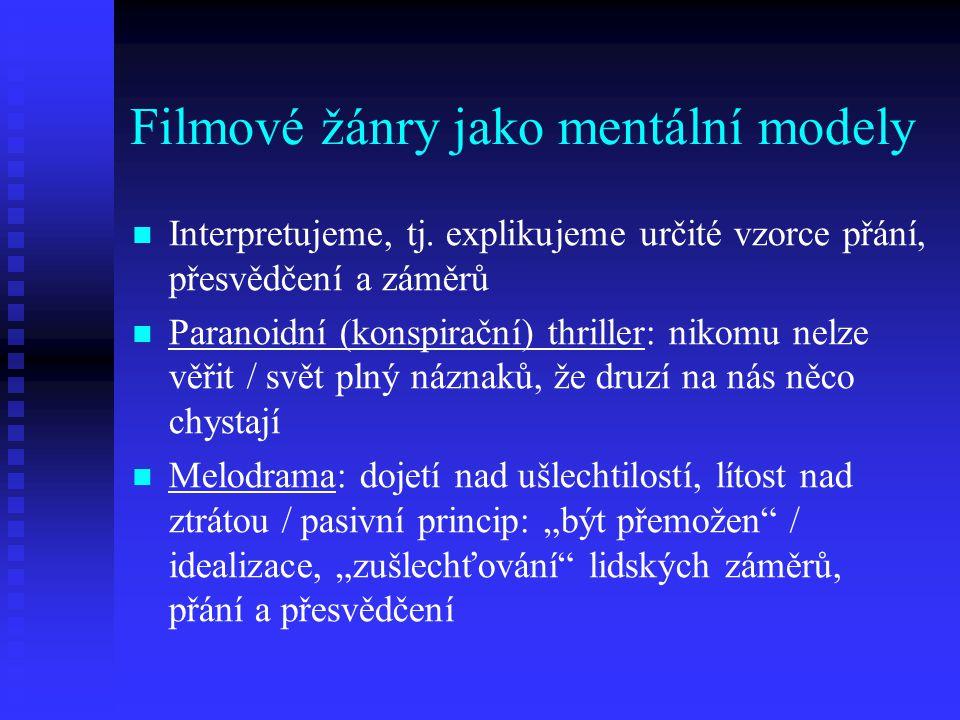 Filmové žánry jako mentální modely Interpretujeme, tj. explikujeme určité vzorce přání, přesvědčení a záměrů Paranoidní (konspirační) thriller: nikomu