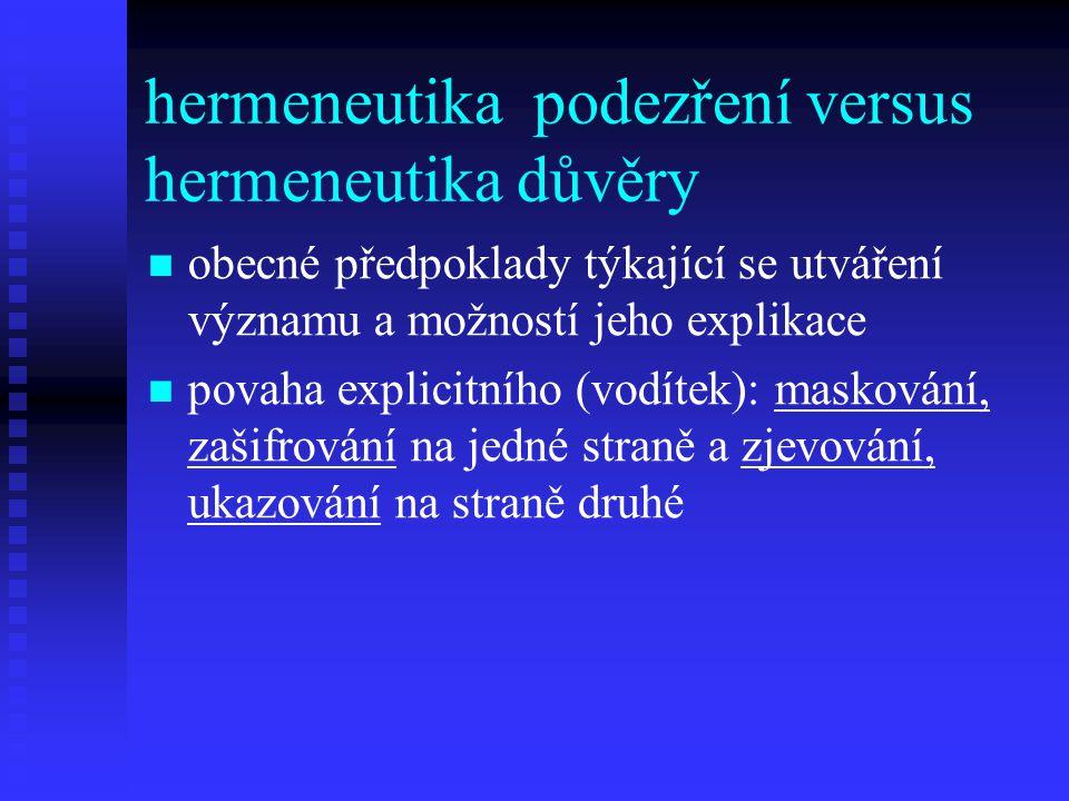 hermeneutika podezření versus hermeneutika důvěry obecné předpoklady týkající se utváření významu a možností jeho explikace povaha explicitního (vodít