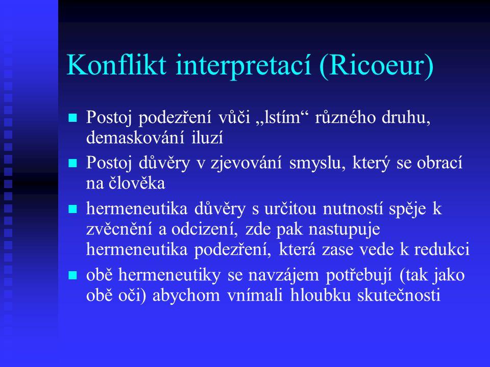 """Konflikt interpretací (Ricoeur) Postoj podezření vůči """"lstím"""" různého druhu, demaskování iluzí Postoj důvěry v zjevování smyslu, který se obrací na čl"""