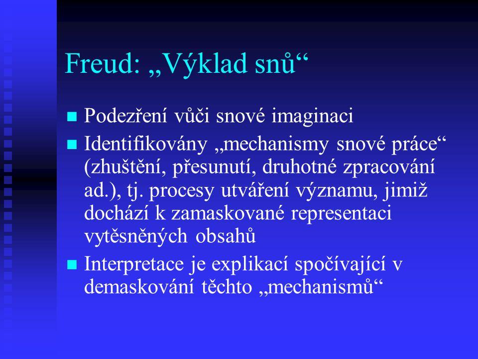 """Freud: """"Výklad snů"""" Podezření vůči snové imaginaci Identifikovány """"mechanismy snové práce"""" (zhuštění, přesunutí, druhotné zpracování ad.), tj. procesy"""