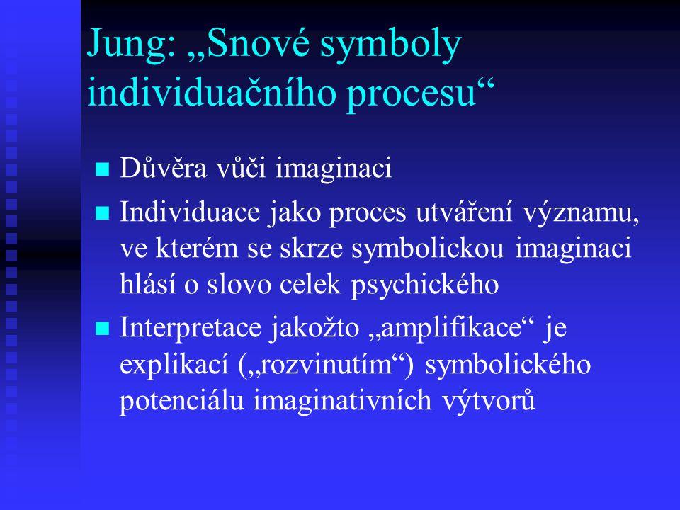 """Jung: """"Snové symboly individuačního procesu"""" Důvěra vůči imaginaci Individuace jako proces utváření významu, ve kterém se skrze symbolickou imaginaci"""
