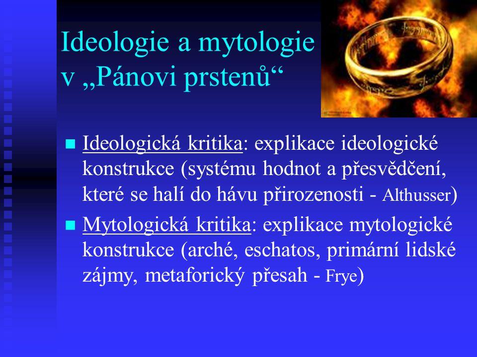 Ideologická kritika: explikace ideologické konstrukce (systému hodnot a přesvědčení, které se halí do hávu přirozenosti - Althusser ) Mytologická krit