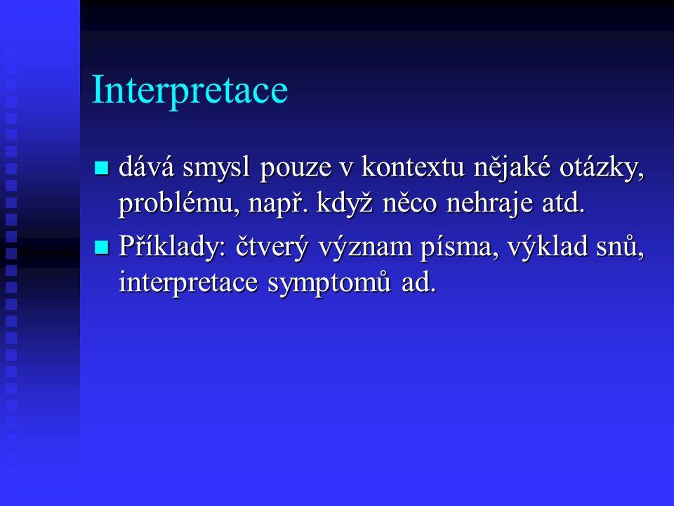 Interpretace dává smysl pouze v kontextu nějaké otázky, problému, např. když něco nehraje atd. dává smysl pouze v kontextu nějaké otázky, problému, na