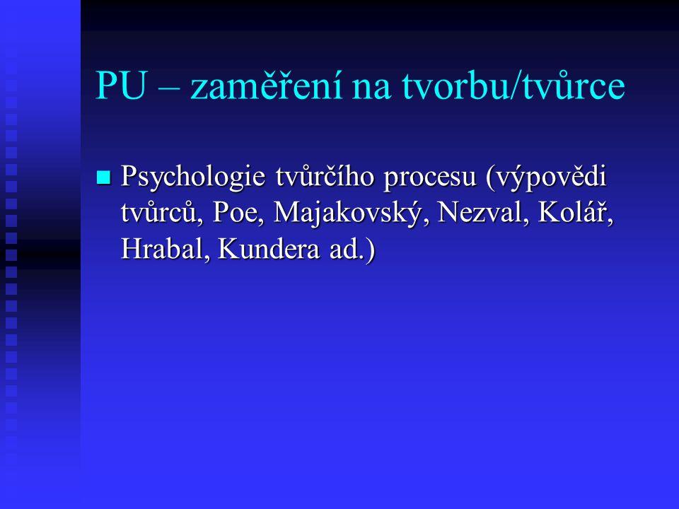 PU – zaměření na tvorbu/tvůrce Psychologie tvůrčího procesu (výpovědi tvůrců, Poe, Majakovský, Nezval, Kolář, Hrabal, Kundera ad.) Psychologie tvůrčíh