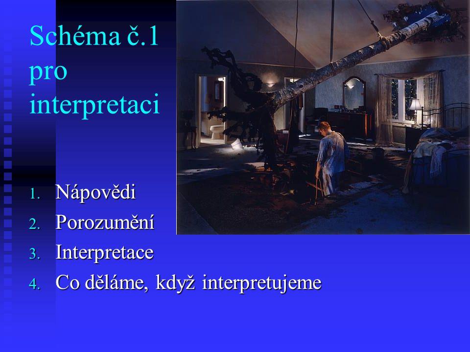 Schéma č.1 pro interpretaci 1. Nápovědi 2. Porozumění 3. Interpretace 4. Co děláme, když interpretujeme