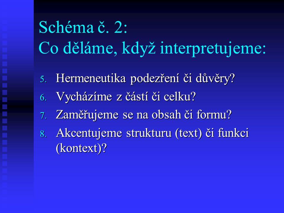 Schéma č. 2: Co děláme, když interpretujeme: 5. Hermeneutika podezření či důvěry? 6. Vycházíme z částí či celku? 7. Zaměřujeme se na obsah či formu? 8
