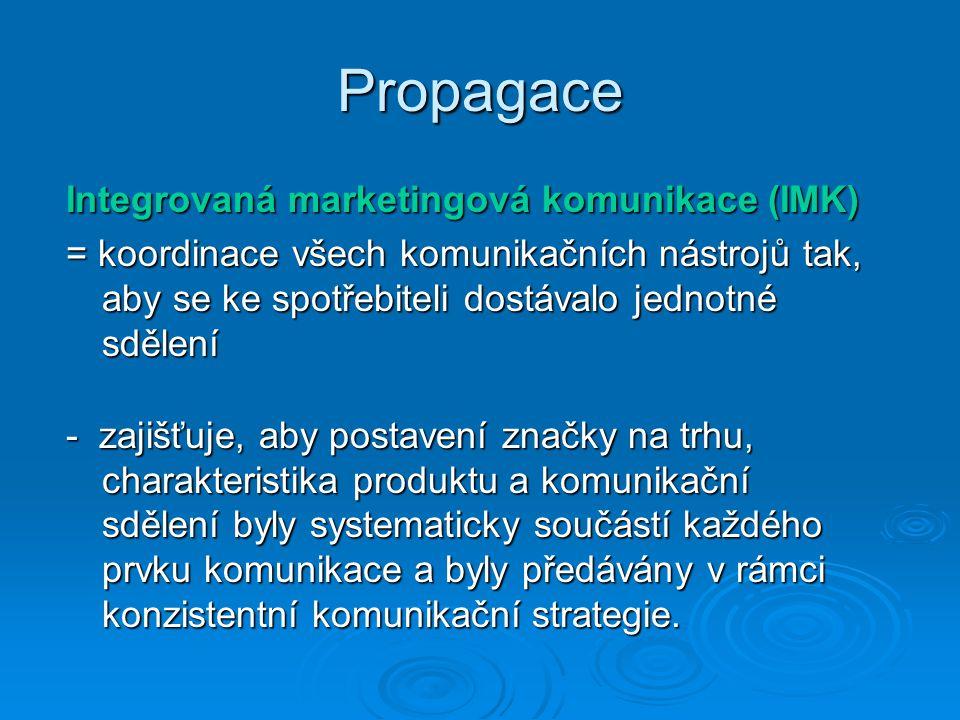 Propagace Integrovaná marketingová komunikace (IMK) = koordinace všech komunikačních nástrojů tak, aby se ke spotřebiteli dostávalo jednotné sdělení - zajišťuje, aby postavení značky na trhu, charakteristika produktu a komunikační sdělení byly systematicky součástí každého prvku komunikace a byly předávány v rámci konzistentní komunikační strategie.