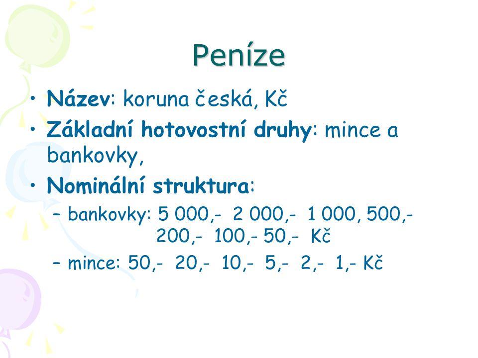 Peníze Emitent: výhradně ČNB Stanovení měnového kurzu: od 25.7.1997 volně pohyblivý kurz (floating) Vztah ke zlatu: zlatý obsah Kč zrušen v roce 1990