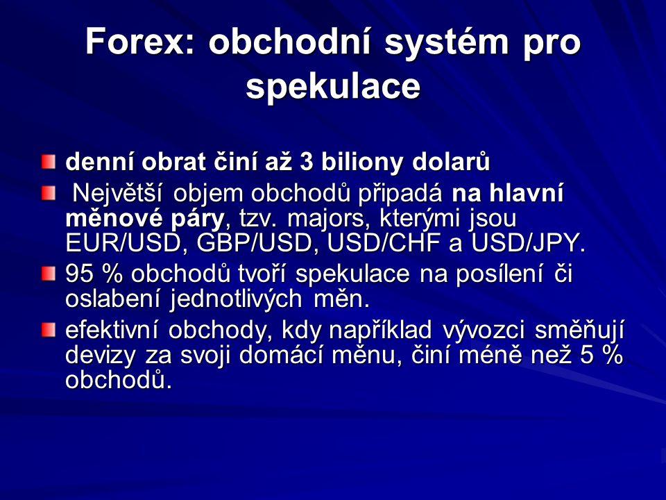 Forex: obchodní systém pro spekulace denní obrat činí až 3 biliony dolarů Největší objem obchodů připadá na hlavní měnové páry, tzv. majors, kterými j