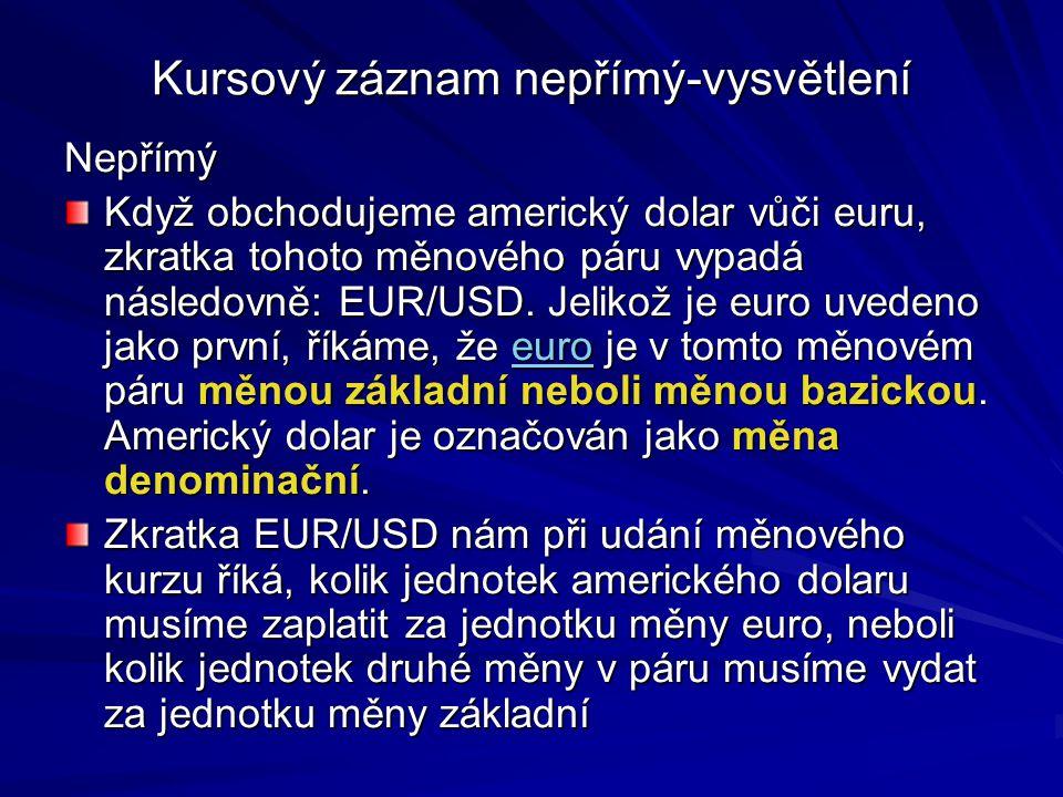 Kursový záznam nepřímý-vysvětlení Nepřímý Když obchodujeme americký dolar vůči euru, zkratka tohoto měnového páru vypadá následovně: EUR/USD. Jelikož