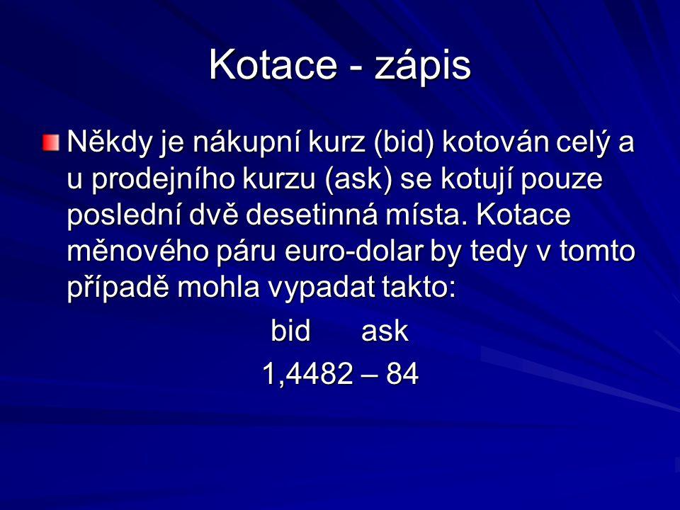 Kotace - zápis Někdy je nákupní kurz (bid) kotován celý a u prodejního kurzu (ask) se kotují pouze poslední dvě desetinná místa. Kotace měnového páru