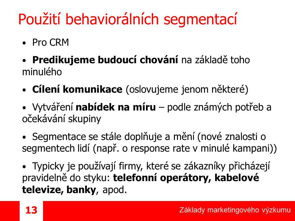 Základy marketingového výzkumu 13 Použití behaviorálních segmentací Pro CRM Predikujeme budoucí chování na základě toho minulého Cílení komunikace (os