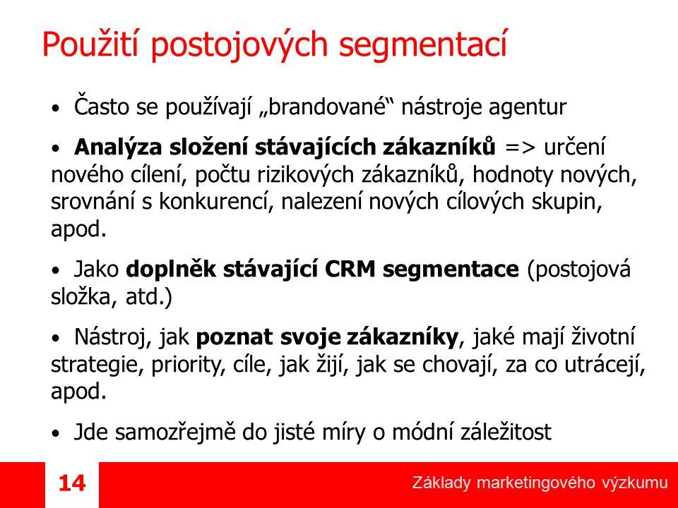 """Základy marketingového výzkumu 14 Použití postojových segmentací Často se používají """"brandované"""" nástroje agentur Analýza složení stávajících zákazník"""