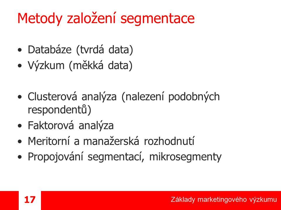 Základy marketingového výzkumu 17 Metody založení segmentace Databáze (tvrdá data) Výzkum (měkká data) Clusterová analýza (nalezení podobných responde