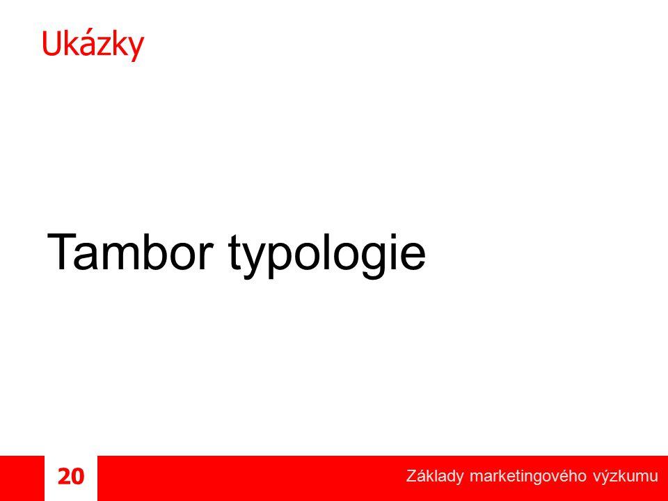 Základy marketingového výzkumu 20 Ukázky Tambor typologie