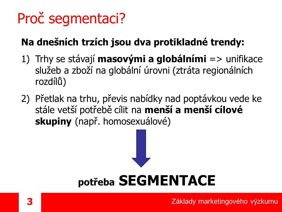 Základy marketingového výzkumu 3 Proč segmentaci? Na dnešních trzích jsou dva protikladné trendy: 1)Trhy se stávají masovými a globálními => unifikace