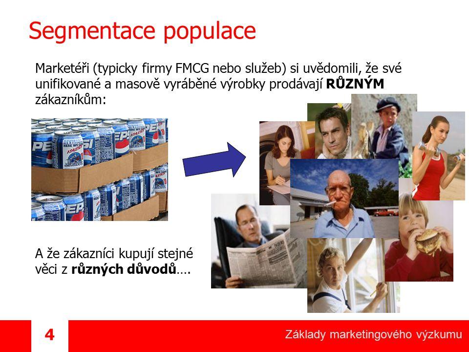 Základy marketingového výzkumu 4 Segmentace populace Marketéři (typicky firmy FMCG nebo služeb) si uvědomili, že své unifikované a masově vyráběné výr