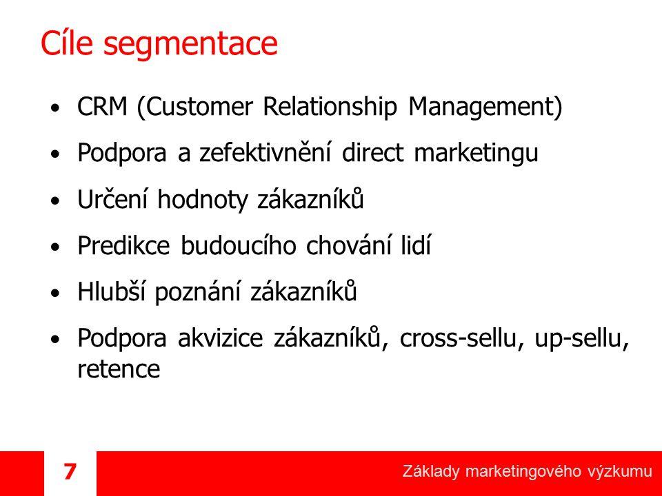 Základy marketingového výzkumu 7 Cíle segmentace CRM (Customer Relationship Management) Podpora a zefektivnění direct marketingu Určení hodnoty zákazn