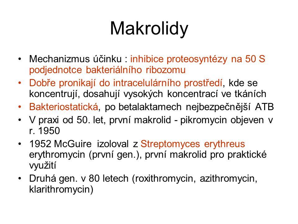 Makrolidy Základní model struktury – makrocyklický laktonový kruh erythromycin, roxithromycin a klarithromycin 14 členný, azithromycin (azalid) patnáctičlenný a 16 členný laktonový kruh josamycin a spiramycin.