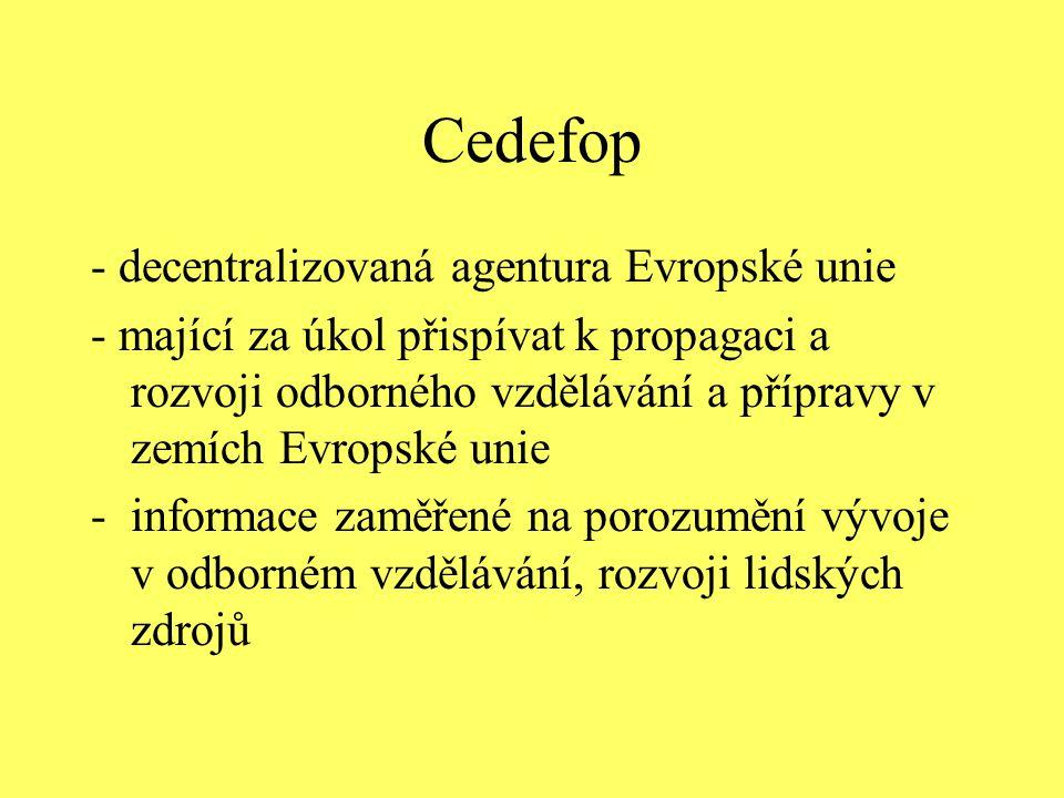 Cedefop - decentralizovaná agentura Evropské unie - mající za úkol přispívat k propagaci a rozvoji odborného vzdělávání a přípravy v zemích Evropské u