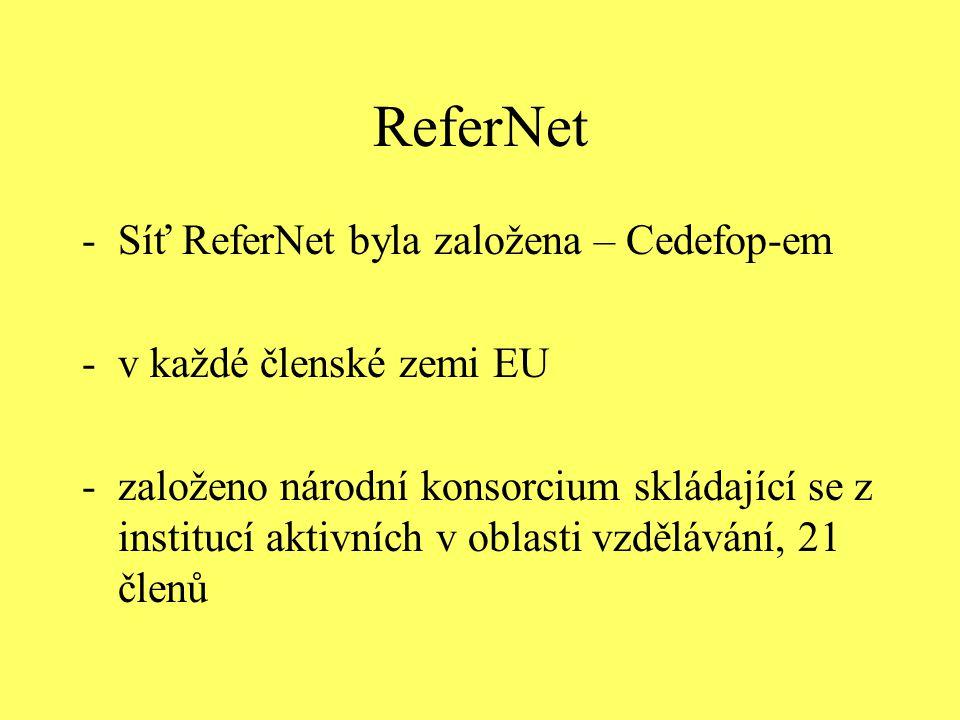 ReferNet -Síť ReferNet byla založena – Cedefop-em -v každé členské zemi EU -založeno národní konsorcium skládající se z institucí aktivních v oblasti